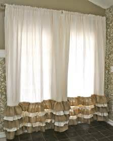 Burlap Drapes And Curtains Ruffled Bottom Burlap Curtain Drapes