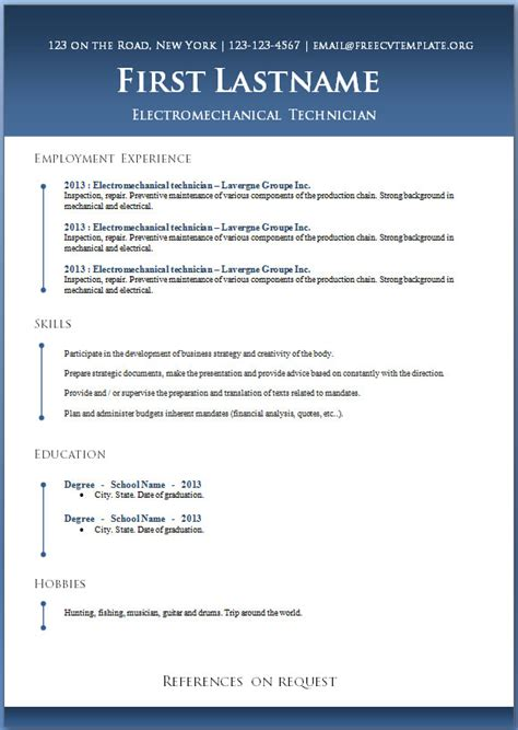 Word 2013 Resume Templates by 50 Free Microsoft Word Resume Templates For