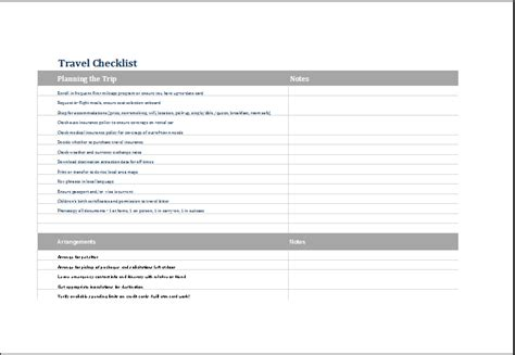 vacation checklist template excel editable printable travel checklist template