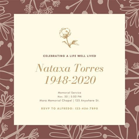 Customize 36  Funeral Invitation templates online   Canva