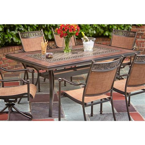 Hton Bay Niles Park 5 Sling Patio Dining Set Portico 7 Hton Bay Patio Table