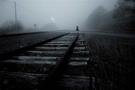 railway monochrome women mist dark spooky wallpapers