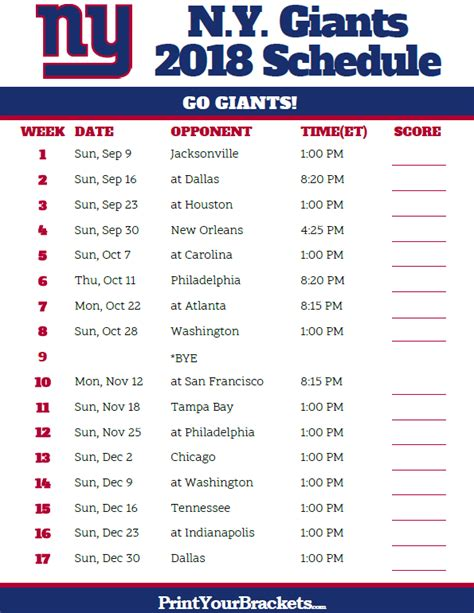 printable nfl giants schedule nfl schedule 2016 printable giants calendar template 2016