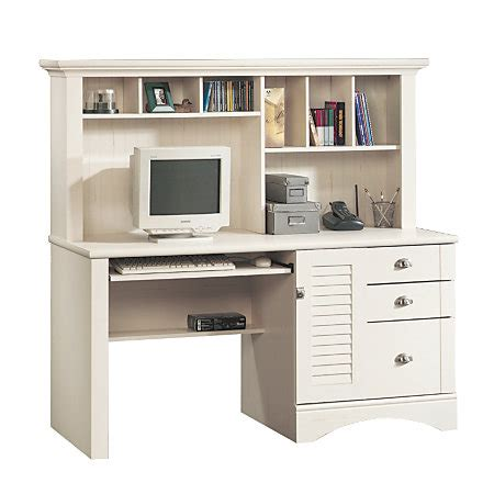 Office Depot White Desk Sauder Harbor View Collection Computer Desk With Hutch Antiqued White By Office Depot Officemax