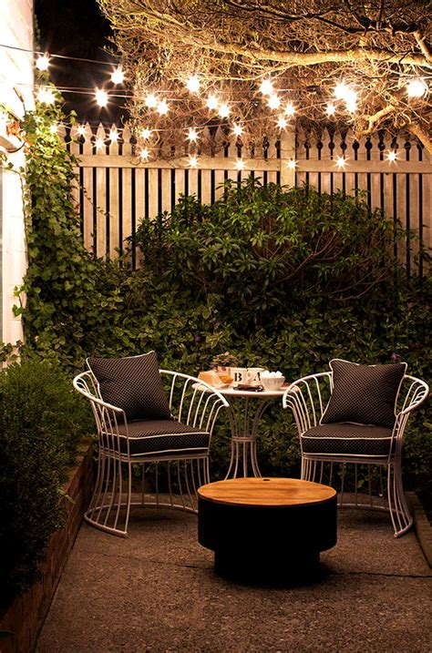 Small Garden Lighting Ideas String Lighting In Outdoor Decor Outdoortheme