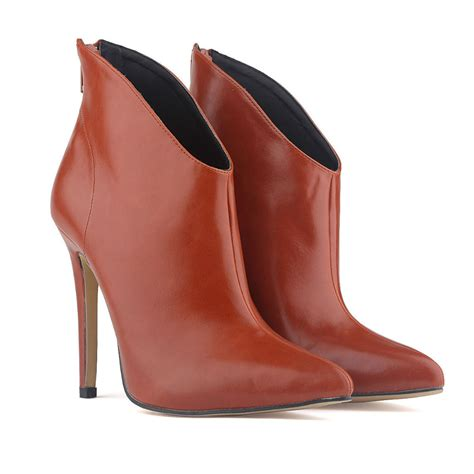 free shipping 2014 brown womens fauxleather high stiletto