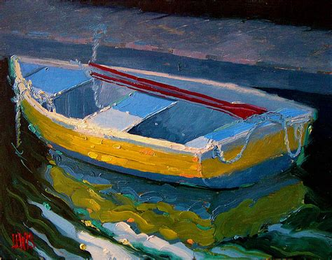 yellow boat paint yellow boat and red oars by robert lewis