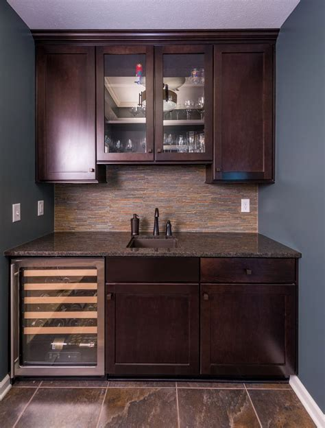 wet bar cabinets with simple wet bar design with dark wood shaker style