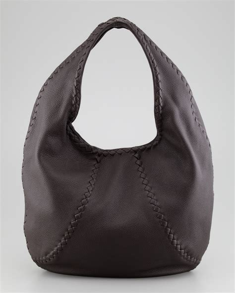 hobo leather bags bottega veneta cervo leather hobo bag espresso in black espresso lyst