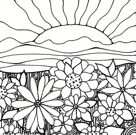 Sunset Coloring Pages printableadult coloring page digital by