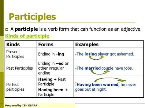 Credit Verb Form Participle Adjectives List Related Keywords Participle Adjectives List Keywords