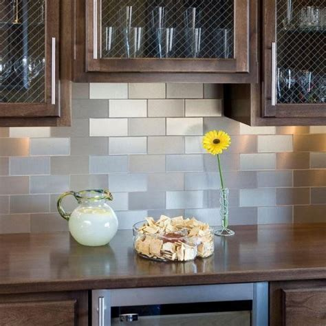 aspect peel and stick backsplash tiles contemporary kitchen stainless steel self adhesive