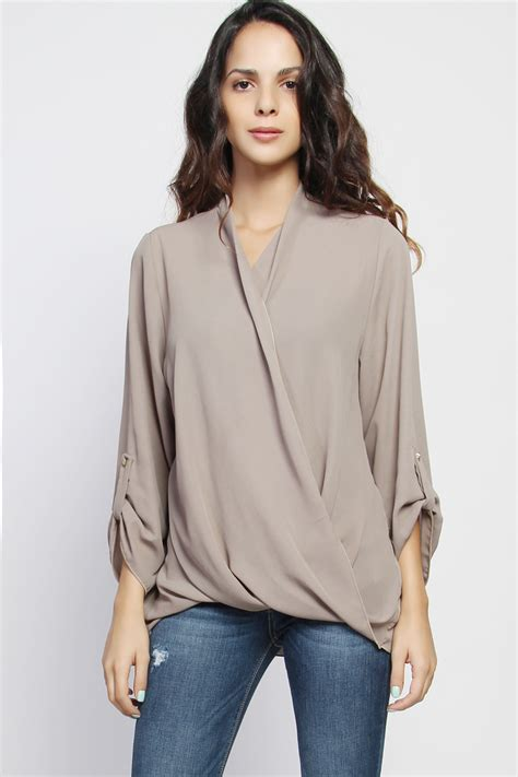 Sleeve Blouse With Plunging Neckline by Themogan Plus Drape Front Dolman Sleeve Plunge Neck