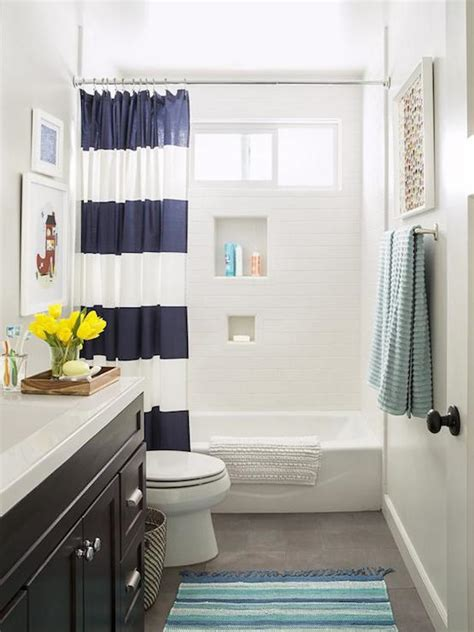 striped bathrooms navy stripe shower curtain transitional bathroom hgtv