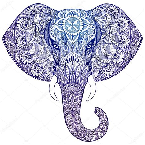 tattoo photo stock tattoo elephant with patterns and ornaments stock photo