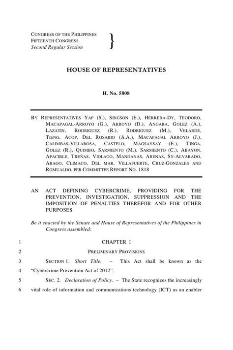 Cybercrime Bill (House Bill 5808)