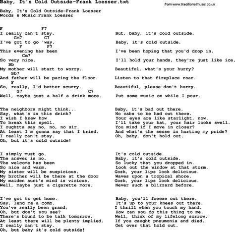 On The Patio Lyrics by Baby It S Cold Outside Lyrics Az Lyrics