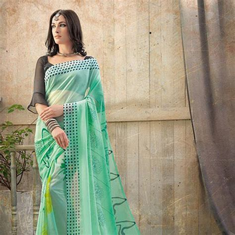 Send Green Chiffon Floral Printed Saree Online from