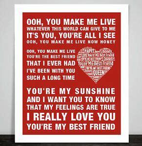 Queen Music Song Lyrics You're My Best Friend Word Art