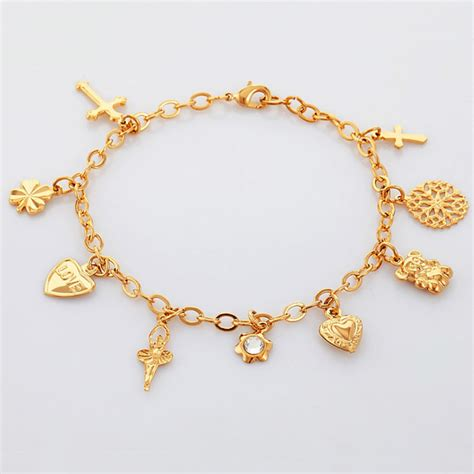 Charm Gold charms bracelet 18kt gold or platinum plated cross