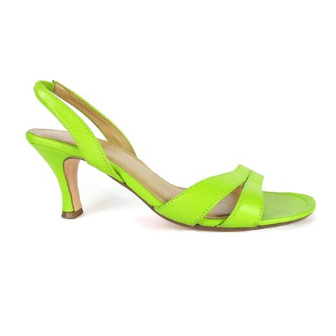 lime green high heel sandals 90s lime green slingback heels open toe strappy leather