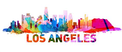 Map Of The World Stickers For Walls los angeles skyline watercolor decal sticker