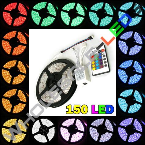 Lu Led 5050 Rgb 16 Colors With Remote 5050 color changing rgb bright led light 16 ft reel 150 led kit