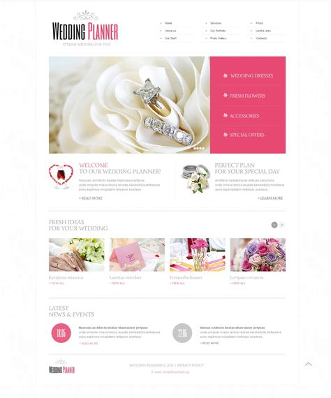 wedding planner website templates wedding planner website template 40649