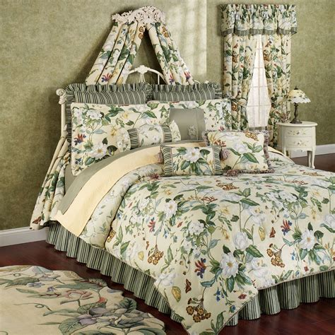 williamsburg garden images 4pc queen comforter set new