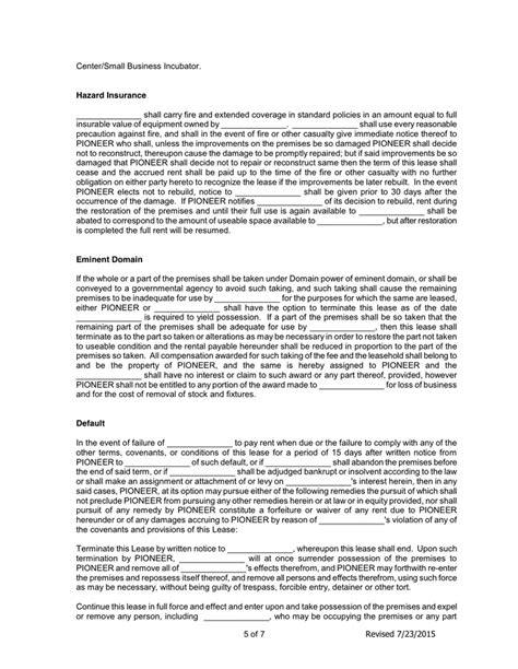 Lease Agreement In Word And Pdf Formats Page 5 Of 7 Incubator Agreement Template