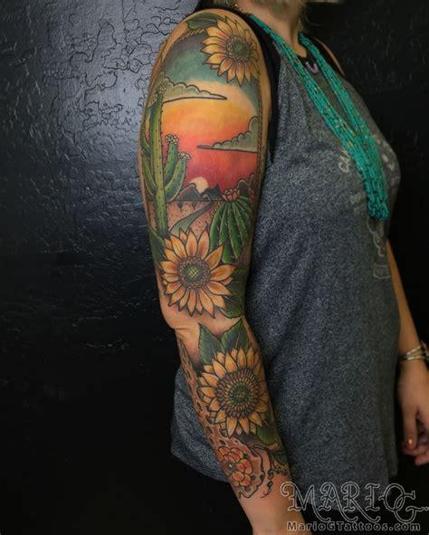 mariogtattoosdesert flowers sunflowers cactus sunset arizona