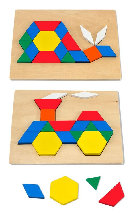 pattern making with different shapes amazon com melissa doug pattern blocks and boards
