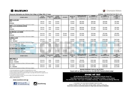 Suzuki Price List Suzuki Singapore Printed Car Price List Oneshift