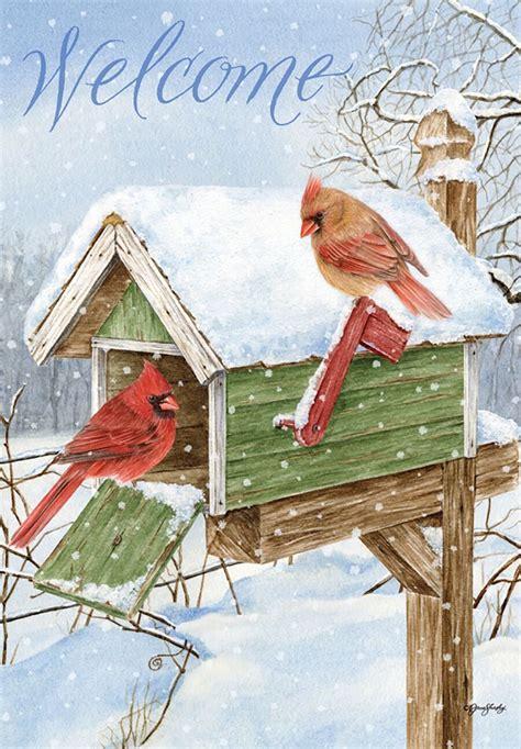 winter garden flag cardinal mailbox winter garden flag welcome birds 12 5 quot x