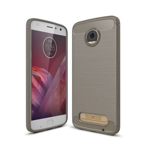 for motorola moto z2 play brushed texture carbon fiber shockproof tpu rugged armor protective
