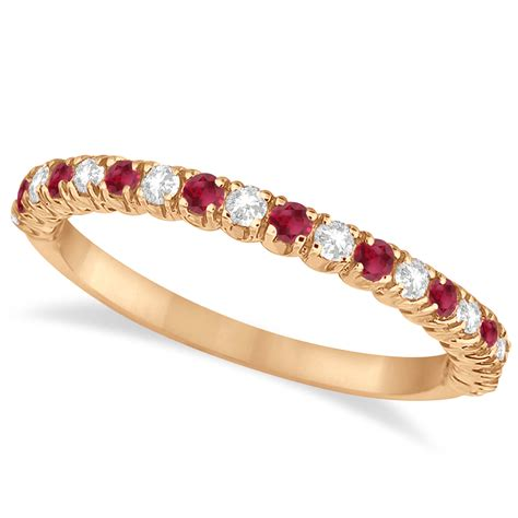 ruby diamond wedding band anniversary ring  rose gold