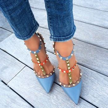 Flatshoes High Heels Valentino Rockstud Suede Mirorr Quality 8cm 10cm high quality genuine leather pointed toe rivets studded pumps heels sandals 2015