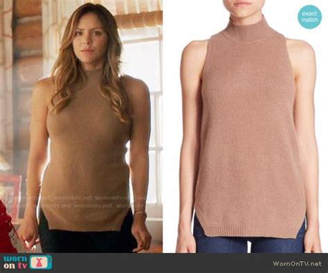 s beige sleeveless sweater on scorpion details https wornontv net 63645