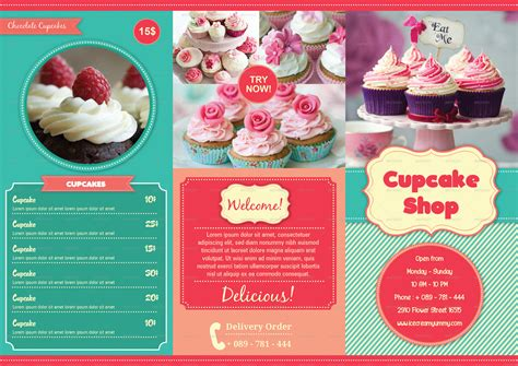 cupcake menu template trifold cupcakes menu by avindaputri graphicriver