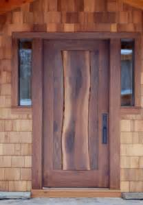 Exterior Slab Door The Live Edge Of The Center Stave Of This Walnut Door Lends An Organic Feel Along With