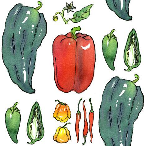 botanical peppers fabric joannabarnum spoonflower