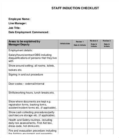 induction document template 12 sle induction checklist template free sle