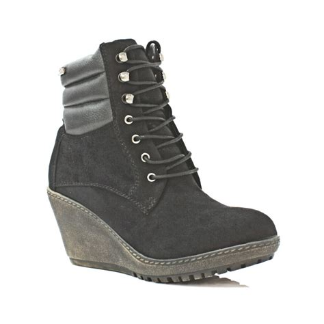 womens xti shoes wedge trainer hiker lace up ankle