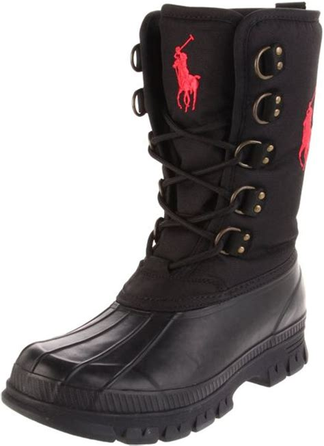 polo ralph mens liam lace up boot in black for