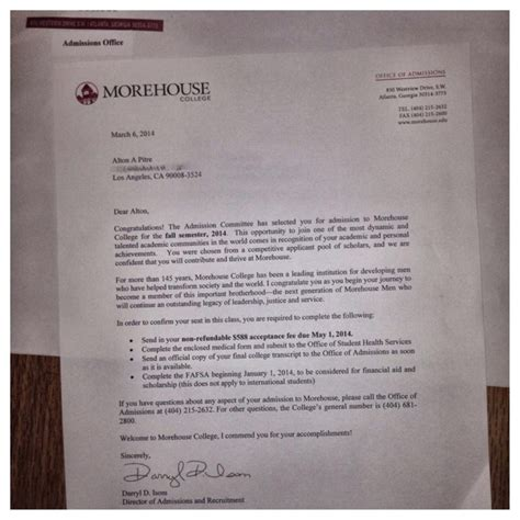 Morehouse College Acceptance Letter Tuition For 1st Yr At Morehouse College By Alton Pitre Gofundme