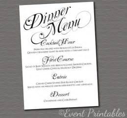 wedding dinner menu template printable menu card diy wedding reception by eventprintables