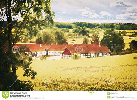 country side farm house countryside farmhouse stock illustration image 64492224
