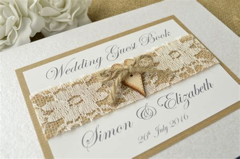 Handmade Wedding Book - rustic style personalised wedding guest book wooden