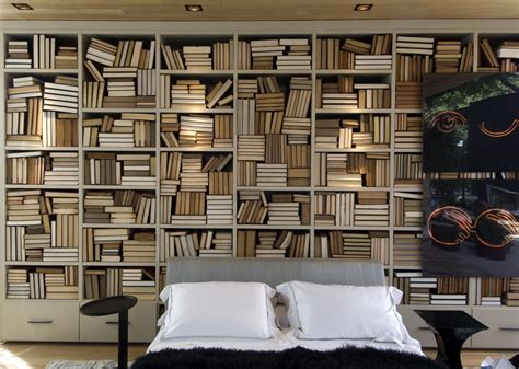 bedroom with lots of bookshelves interior design ideas