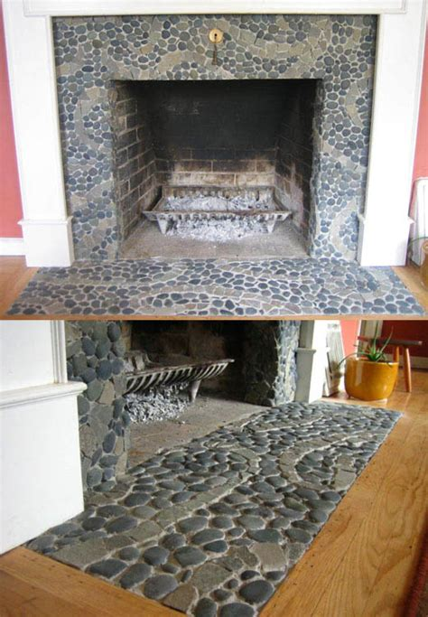 Pebble Tile Fireplace by Portfolio Gallery Metamosaics